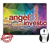 """Luxlady Natural Rubber Mouse Pad/Mat with Stitched Edges 9.8"""" x 7.9"""" IMAGE ID: 36862645 Angel investor word cloud concept with abstract background"""