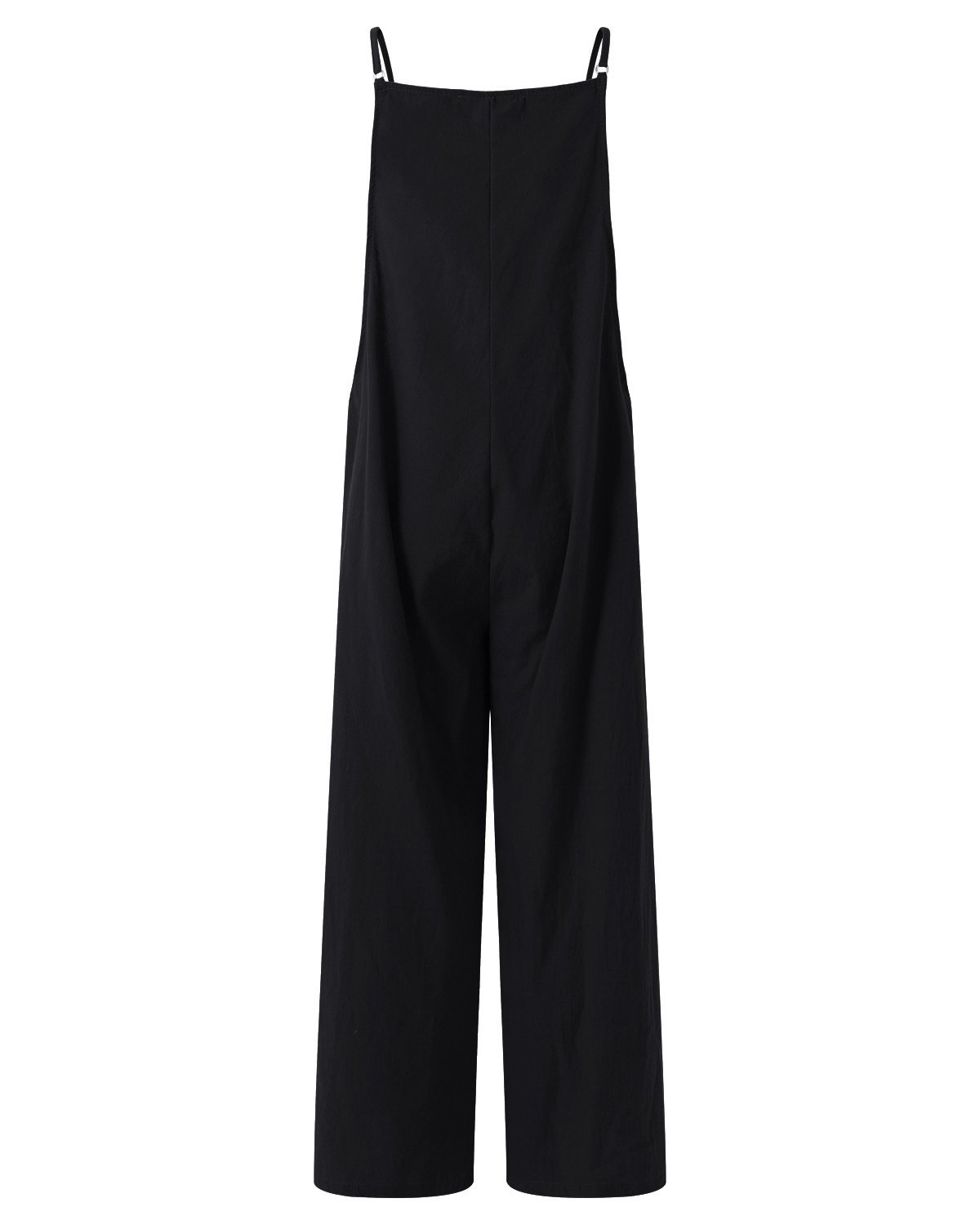 StyleDome Fashion Women Casual Loose Cotton Solid Jumpsuit Long Suspender Overalls Bib Pants Plus Size Romper Black Small by StyleDome (Image #3)