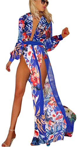 Beach Bum Dress (UGET Women's Colorful Floral Boho Beach Dress Split Long Cover Up Dress US 2-4 /Asia M)