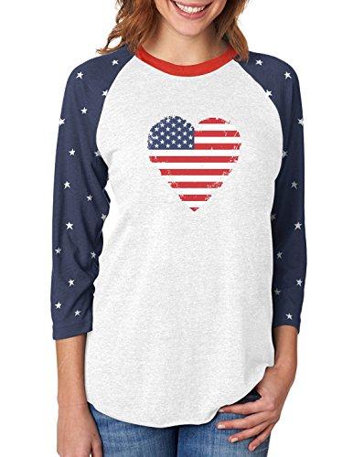 Love USA 4th of July American Heart Flag 3/4 Women Sleeve Baseball Jersey Shirt Large ()