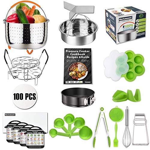 Clip Pot Paper - For Instant Pot Pressure Cooker Accessories Set Fit 6,8 QT, Steamer Basket, Recipes Cookbook, Egg Bites Mold, Springform Pan,Stackable Egg Steamer Rack,5 Cooking time Magnets,Balloon Whisk And More