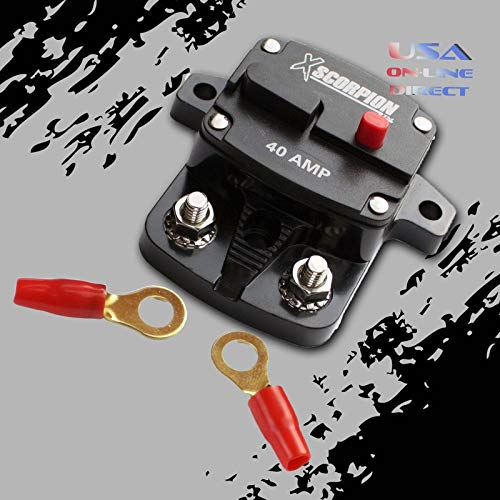 40 Amp In-Line Power Marine Rated Circuit Breaker Replaces Fuse Holder 12 Volts with Ring Terminals