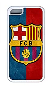 5C Case, iPhone 5C Case Galaxy Pattern Fc Barcelona Cute iPhone 5C Shoockproof White Soft Case Full Body Hybrid Impact Armor Defender Cover protective Case for iPhone 5C