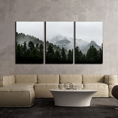 Incredible Expert Craftsmanship, Landscape with Mountain with Fog x3 Panels, Classic Design