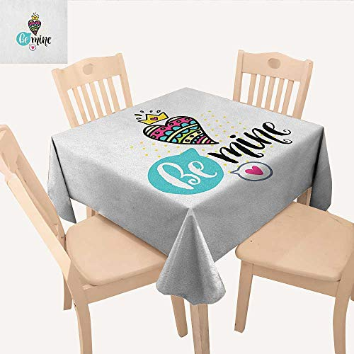 longbuyer Romantic Jacquard Tablecloth Colorful Patterned Heart Shape with a Crown Creative Typography Phrase Be Mine Square Tablecloth Multicolor W 54