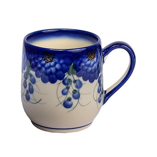 Traditional Polish Pottery, Handcrafted Ceramic Tulip-shaped Mug (300ml / 10.5 fl oz), Boleslawiec Style Pattern, Q.901.ARTS