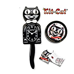 California Clock, Kit-Cat Large Clock Bundle, Classic Large Black BC01 Clock, Round Cat Clock, Two C Batteries and Gift Note, Collectors Limited Edition