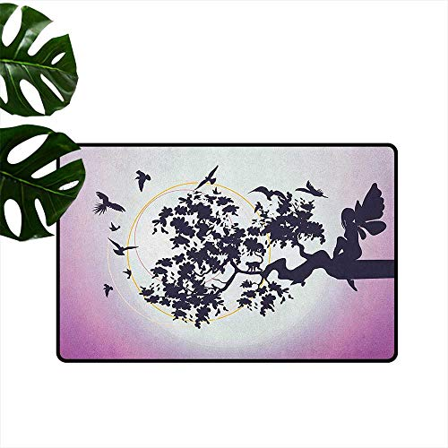 Anime Latex Backing Non Slip Door Mat Fantasy Fairy Silhouette Sitting on The Branch of Tree with Flying Birds Easy to Clean W23 x L35 Dark Purple and Fuchsia -