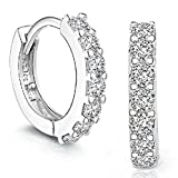 Sannysis 1Pair Beautiful Silvering Rhinestones Hoop Stud Earrings For Women-About Half an Inch