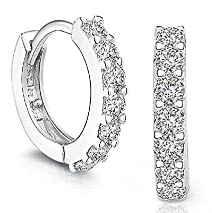 54c411b11 Image Unavailable. Image not available for. Color: YOMXL Sterling Silver  Rhinestones Hoop Earrings ...