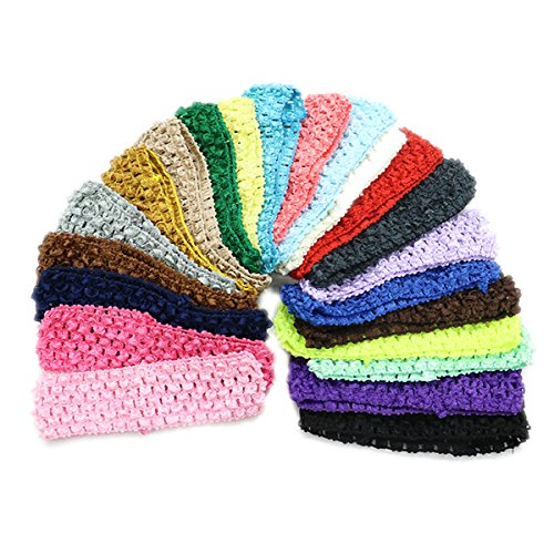 HUELE Pack of 22 Elastic Stretch Crochet Baby Girl Headbands Hair Accessories ,22 Colors