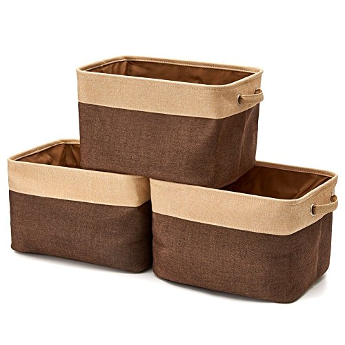 Bins Brown (EZOWare Collapsible Storage Bin Basket [3-Pack] Foldable Canvas Fabric Tweed Storage Cube Bin Set with Handles - Brown for Home Office Closet)