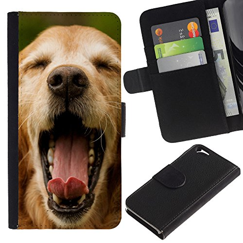 EuroCase - Apple Iphone 6 4.7 - golden retriever dog yawn summer - Cuir PU Coverture Shell Armure Coque Coq Cas Etui Housse Case Cover