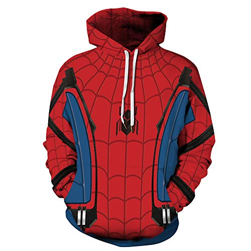 TAKUSHI HF Unisex Fashion Galaxy 3D Digital Printed Pullover Hoodies Hooded Sweatshirts for Sport and Party (Spiderman Blue, (Spiderman Party Stuff)