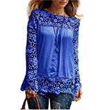Women Plus Size Hollow Out Lace Splice Long Sleeve Shirt Casual Blouse Loose Top(Blue,Medium)