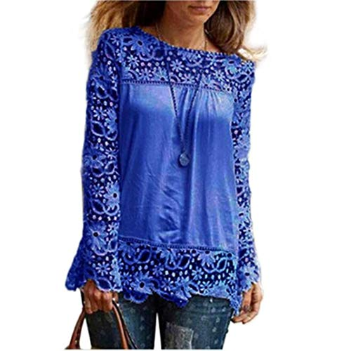 Women Plus Size Hollow Out Lace Splice Long Sleeve Shirt Casual Blouse Loose Top(Blue,Medium) by iQKA (Image #4)