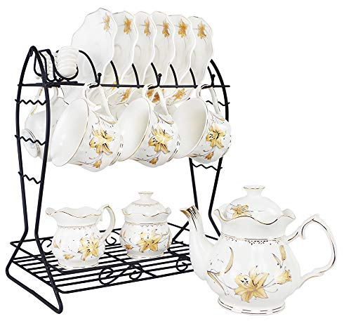 Porcelain Ceramic Coffee Tea Sets 21 pieces with Metal Holder,Cups and Saucers Sets and Spoons for 6,with Teapot Sugar Bowl Cream Pitcher