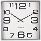 Large Wall Clock, 11 Inch Modern Large Square Elegant Wall Clock- Quality Quartz, Battery Operated- Silver/Matte Gray, Decorative Home Clock- Bernhard Products™