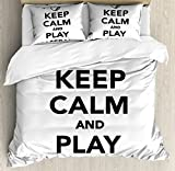 Keep Calm King Size Duvet Cover Set by Ambesonne, Play Baseball Phrase Sports Theme with the Ball Figure Monochrome Pictogram, Decorative 3 Piece Bedding Set with 2 Pillow Shams, Black White