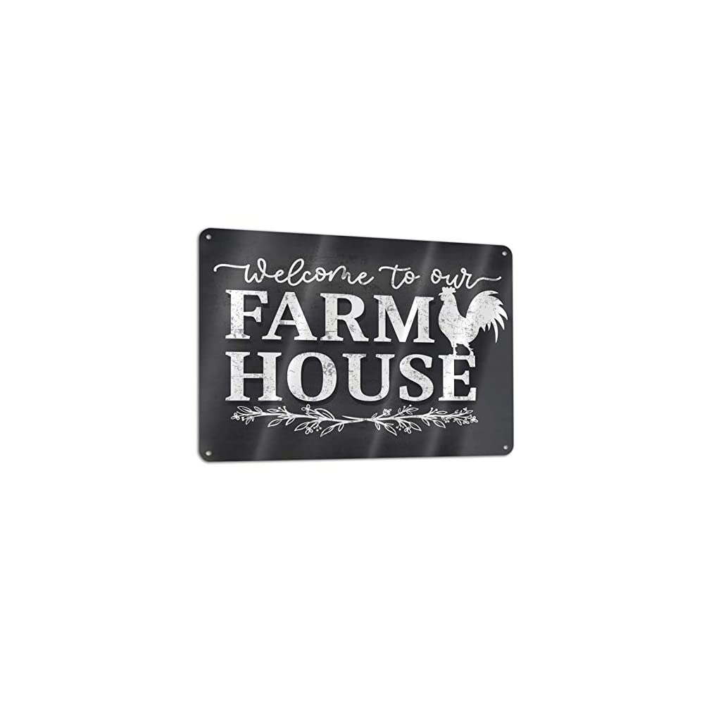 XXUV Welcome to My Farmhouse Gate Wall Decor Sign,Black Vintage Metal Sign with A Chicken for Farmhouse Fence Gate,12x8…