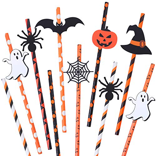 Paper Plate Spider Halloween (Aneco 48 Sets Halloween Themed Paper Drinking Straws Pumpkin Ghost Spider Bat Spider Web Witch Hat Pattern Decorative Drinking Straws for Party)