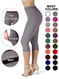 SATINA High Waisted Ultra Soft Capris Leggings - 20 Colors - Reg & Plus Size (Plus Size, Lilac Gray)