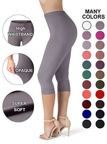 Crop Leggings Stretch (SATINA High Waisted Ultra Soft Capris Leggings - 20 Colors - Reg & Plus Size (Plus Size, Lilac Gray))