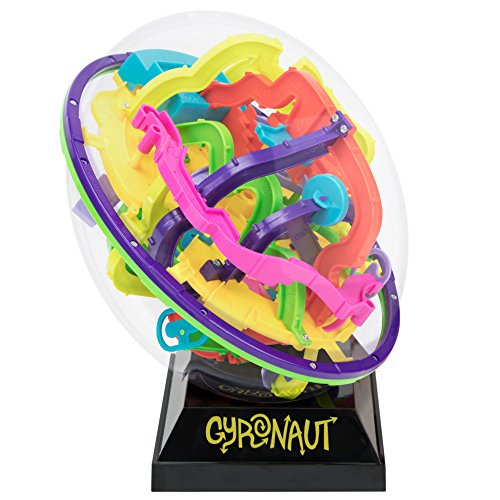 Gyronaut Omega Puzzle Ball with 299 Extra-Challenging Obstacles and Display Stand