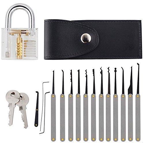 Lockpicking Set, Intsun 15-teiliges Professionelle Pick-Set Dietriche Kit, Schlossknacken Schlüssel Extractor Werkzeug + Transparente Übungs-Vorhängeschlösser für Schlosserei