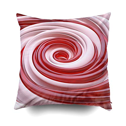 Musesh Pillow Case for Christmas, 16X16Inch 3D Christmas Candy Cane Spiral Wallpaper Dessert Background Throw Pillow Covers Cusion for Bed,Sofa,Car