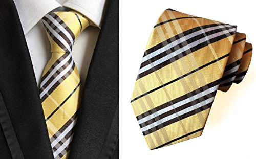 Silk Streak MENDENG Men's Necktie Classic Ties Yellow Striped wqF61I
