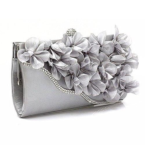 Handbag - SODIAL(R)Lady Satin Clutch Bag Flower Evening Party Wedding Purse Chain Shoulder Handbag Colors:Silver
