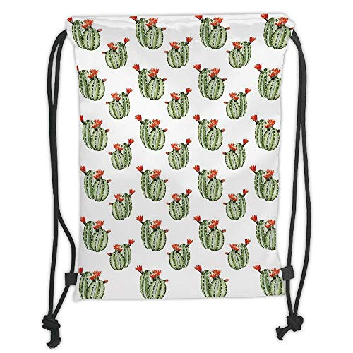 - New Fashion Gym Drawstring Backpacks Bags,Cactus,Cute Watercolor Floral Design with Latin American Flower Design Abstract,Green Vermilion White Soft Satin,Adjustable String Closur