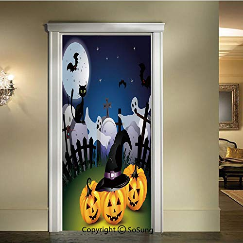 baihemiya 3D Door Wallpaper Stickers,Funny Cartoon Design with Pumpkins Witches Hat Ghosts Graveyard Full Moon Cat Decorative,W30.3xL78.7inch,Suitable for Any Dry,Flat surfaceMulticolor ()