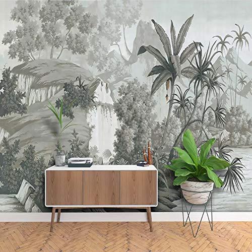 H /×280cm XZCWWH Papier Peint Personnalis/é De Mur De Papier Peint De For/êt Tropicale Dessin/é /À La Main De Cru Pour Des Murs 3D Salon Papier Peint De Mur De D/écoration De Maison,400cm W