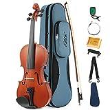Eastar EVA-1 3/4 Natural Violin Instrument For Beginner Student with Hard Case, Rosin, Shoulder Rest, Bow, Clip-on Tuner and Extra Strings