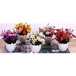 Garwarm Mini Lifelike Nature Modern Design Decorative Artificial Faux Tabletop Plastic Silk Potted Chrysanthemum Flower Plant with Planter Pots Vases Home Office Decor 2