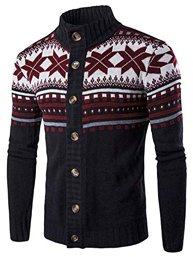MaxTide Mens Slim Kintted Long Sleeve Turtleneck Pinstriped Pullover Sweaters(Black-Large)
