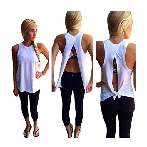 Clearance Sale! Women Shirts WEUIE Women Summer Vest Top Sleeveless Blouse Casual Tank Tops T-Shirt (M, White)