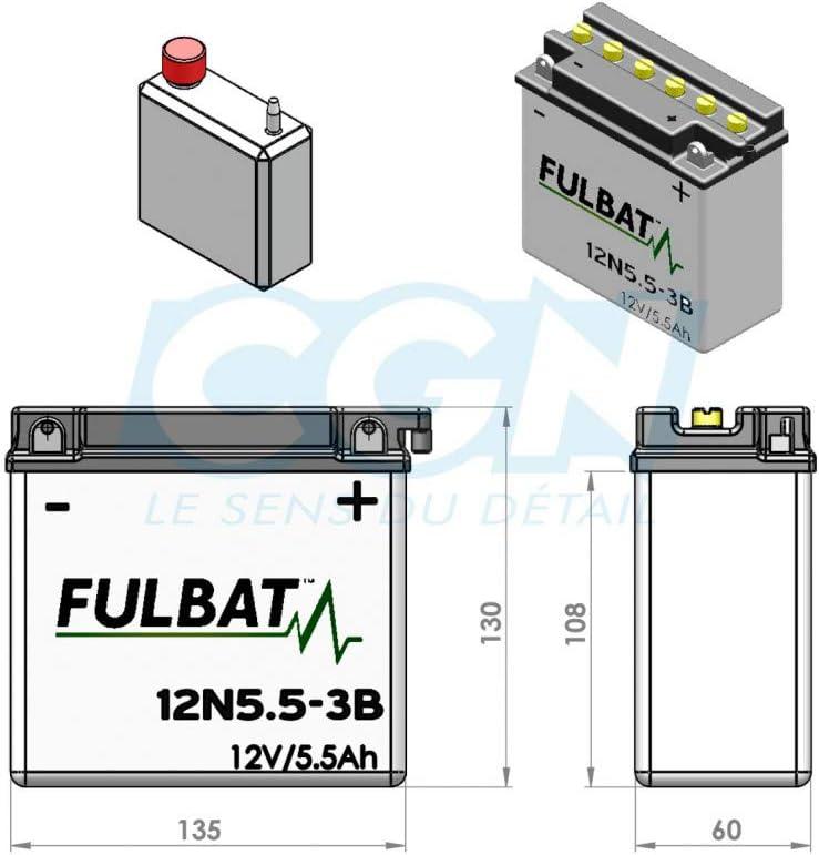 Fulbat - Batería moto 12N5.5-3B 12V 5.5Ah