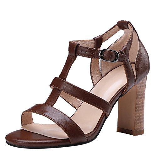 Piel de Marrón AIYOUMEI Mujer de Otra Zapatos Vestir Xrx5qW05