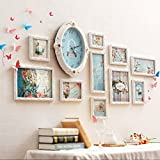 European Solid Wood Clock Photo Wall Living Room Bedroom Sofa Picture Frame Wall Warm Creative Combination ( Color : Arab )