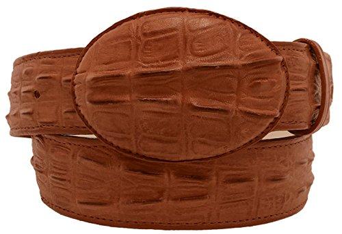 Cowboy Professional - Men's Cognac Crocodile Tail Leather Western Belt Round Buckle 40