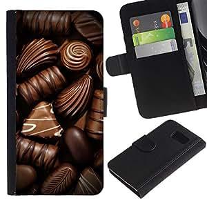 KingStore / Leather Etui en cuir / Samsung Galaxy S6 / Chocolate Box caramelo arte oscuro dulce