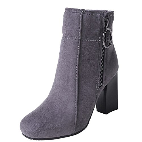 Agodor Women's Chunky High Heels Ankle Boots With Zip Elegant Autumn Winter Shoes Grey QhcR5MZC