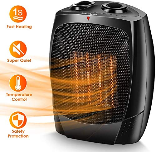 Space Heaters for Indoor Use, Up to 190 sqft, 1500W/1000W/Fan, Portable Electric Heater, Tip-Over & Overheat Shut-off, Adjustable Thermostat, Quiet, 3s Fast Heating, Ceramic Heater for Home & Office (Portable Room Fans)
