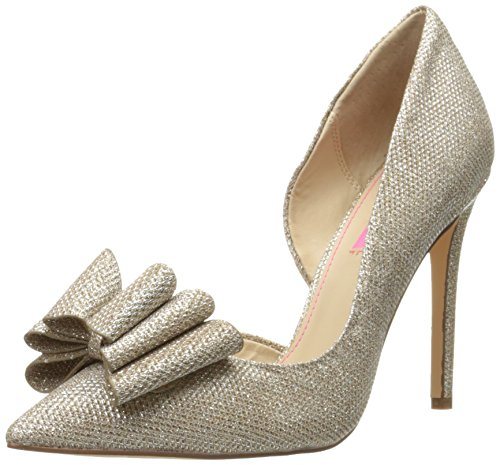 Betsey Johnson Women's Prince D'orsay Pump, Gold, 9.5 M US