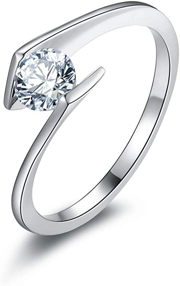 Jewel Tie 925 Sterling Silver Cubic Zirconia CZ Wedding Engagement Ring 1ct.