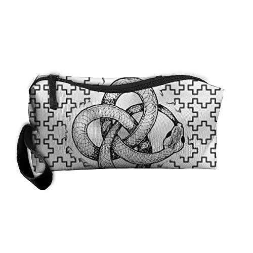 Snake Bit Tail Shape Pattern Makeup Bag Printing Girl Women Travel Portable Cosmetic Bag Sewing Kit Stationery Bags Cute Storage Pouch Bag Multi-function Bag