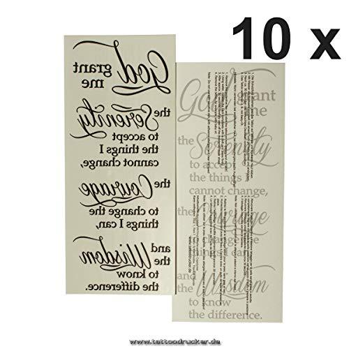 10 x Serenity Prayer - Serenity Prayer - Black Tattoo Lettering - God grant me to - Prayer Tattoo